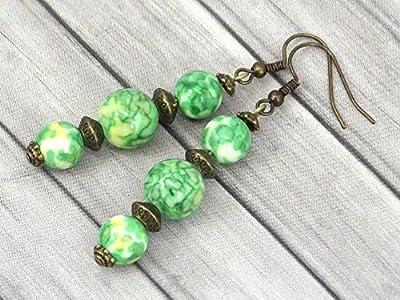 Boucles d'oreilles trio en bronze et perles de jade blanc teinté en vert et jaune