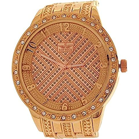 SOFTECH da uomo Oversize completa strass quadrante rosa tono braccialetto cinturino se218