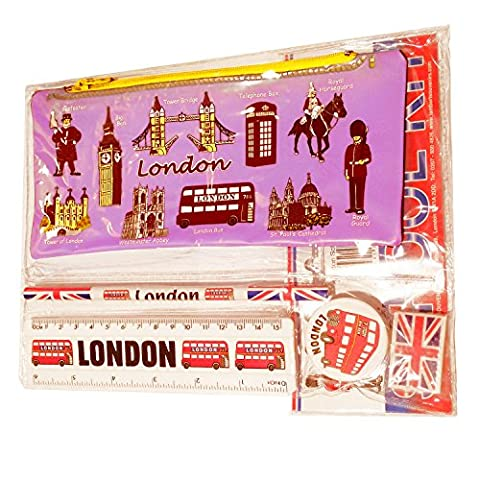 #1 Bestselling All In One School Kit - London Souvenir - Pen / Pencil Case, Sharpener, Eraser / Rubber, Ruler (inches/cm) - Trousse / Federmappchen / Caja de Lapices / Astuccio - Pink - EVERYTHING LONDON - Black Cab / Red Phone Box / London Bus / Royal Guard / Beefeater / Tower of London / Big Ben / Westminster Abbey / Tower Bridge / St Paul's Cathedral - Top Quality Product