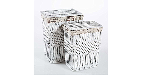DiKasa Home Set Cesta Portariviste Shabby Foderata Bianco 42x22x26 cm Vimini