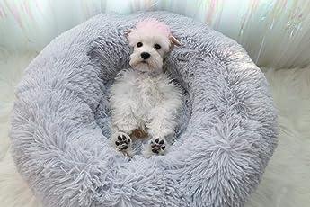Lamzoom - Deluxe-Haustierbett für Katzen und kleine bis mittelgroße Hunde. Kuschelig mit weichem Kissen. Rund oder oval Nisthöhle/Bett für Haustiere (Katzen und kleine Hunde) in Doghnut-Form.