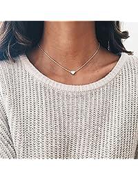 1a210e066085 Calistouk Amor corazón choker gargantilla collar de plata chapado en oro  cadena de collar encantador regalo