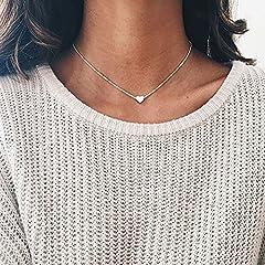 Idea Regalo - GZpart Collana girocollo con cuore in argento placcato oro Silver
