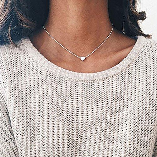 Zhuotop Damen Versilbert Schlüsselbein Kette kurze enge Halskette silber mit Herz-Anhänger
