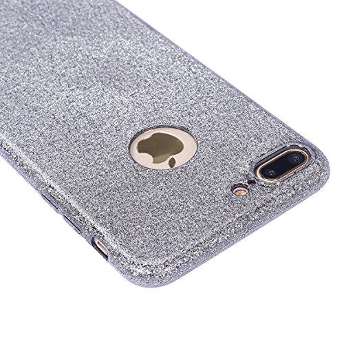 JAWSEU iPhone 7 Plus Coque Transparent Glitter,iPhone 7 Plus Plus Etui en Silicone Clair avec Pailletee,Brilliante Bling ¨¦toile Soft Tpu Case Cover,Ultra Slim Sparkle Scintillant Flexible Souple Gel  argent gris&