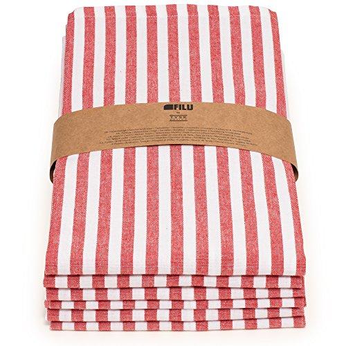 FILU Geschirrtücher 6er Pack Halbleinen (Leinen/Baumwolle) rot/weiß gestreift 45 x 70 cm (Farbe und Design wählbar); hochwertig durchgefärbte Geschirrhandtücher im skandinavischen Landhausstil