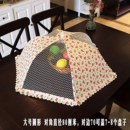 BBDQX Large size rectangular foldable dining table cover, dish cover, table cover, vegetable cover, bowl cover, large size food anti fly cover,The rosy rose is round and round -
