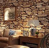 H&M Fond d'écran PVC rétro 3D stéréo imitation pierre texture papier peint décoration chambre TV mur salon fond d'écran -53 cm (W) * 10 m (L), dark brown