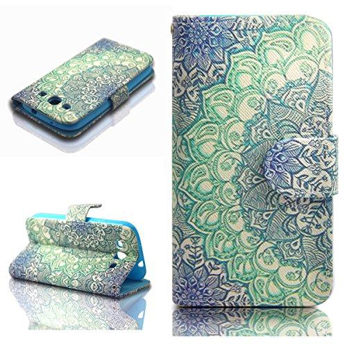 Dokpav® Samsung Galaxy S3 i9300 Funda,Ultra Slim Delgado Flip PU Cuero Cover Case para Samsung Galaxy S3 i9300 con Interiores Slip compartimentos para tarjetas-Flower