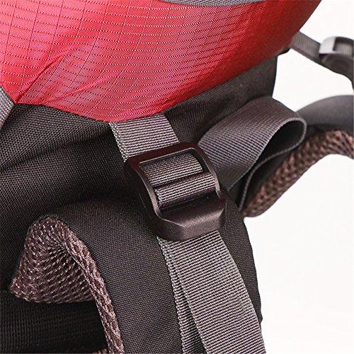 UMEICOOL 50L Wasserdicht Trekkingrucksack Nylon Wandern Rucksack mit Regenabdeckung für Outdoor zum Wandern Bergsteigen Reisen und für Sport und Camping Rot