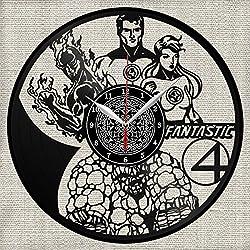 Fantastic Four Disque Vinyle Horloge Murale Décor Fan Art Fait à la Main Design Unique Cadeau Original