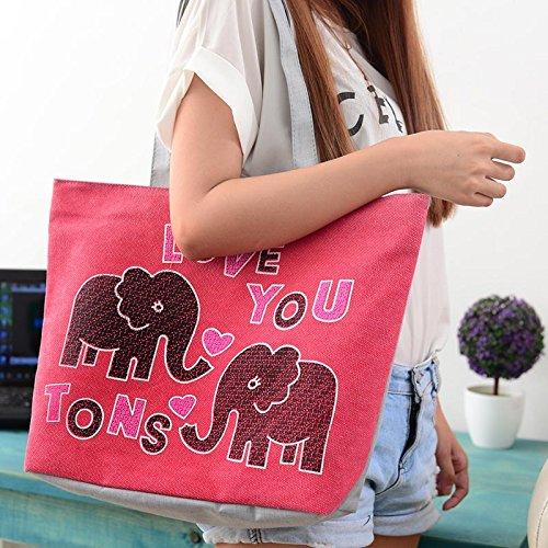 Hrph Liebe Elefant Canvas Handtasche adrette Schultasche für Mädchen-Frauen-Handtaschen , nette Taschen Red