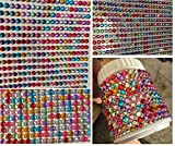 Crystal King Self-Adhesive Acrylic Stones Set of 3500Colourful for Arts and Crafts Gemstones for Children Three Sizes 5mm 4mm 3mm for Decorating
