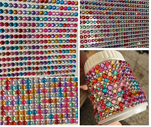 CRYSTAL KING Set aus 3500 Stück Acrylsteine Set Paket selbstklebend Gltzersteine Steinchen bunt Schmucksteine Bastelset Set Basteln Kinder Strass Steine 5mm 4mm 3mm Schmucksteine