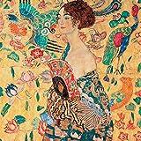 Gustav Klimt Frau mit Fächer 30x 30cm Bild Druck auf MDF-Rand schwarz