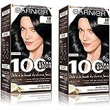 Garnier - 100% Ultra Brun - Coloration Permanente Noir - Le Noir Intense 1.0 Lot de 2