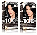 Garnier - 100% Ultra Brun - Coloration Permanente Noir - Le Noir Intense 1.0 - Lot de 2