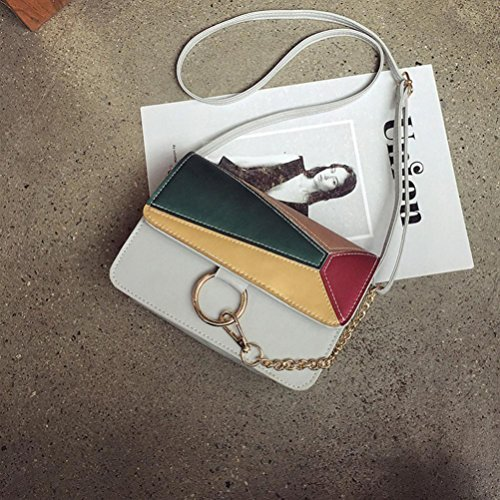 PU flap Borsetta Crossbody, moda donna Patchwork Flap borsa crossbody spalla borsa di Kangrunmy Grigio