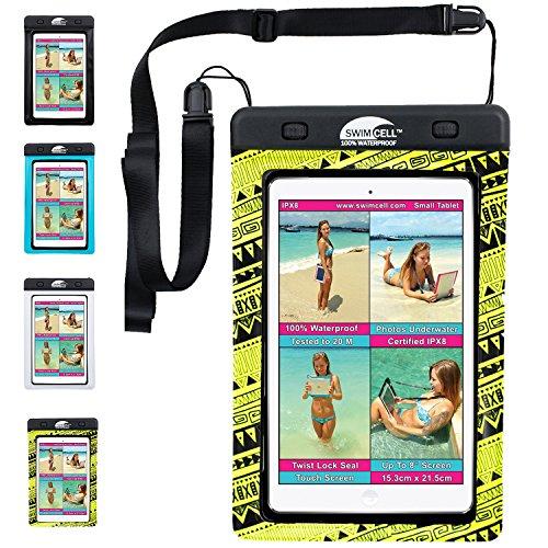 Swimcell - wasserdichte Schutzhülle für Handy, iPhone 6, 7 Plus, iPad, Tablet, Samsung Tab, Kindle, MP3-Player, Kamera, Schlüssel, Geldbeutel, Reisepass. Hochwertige Tasche. Geprüft nach IPX8. Bis zu 10m unter Wasser schwimmen., Nylon, neongelb, Small Tablet 15.3cm x 21.5cm