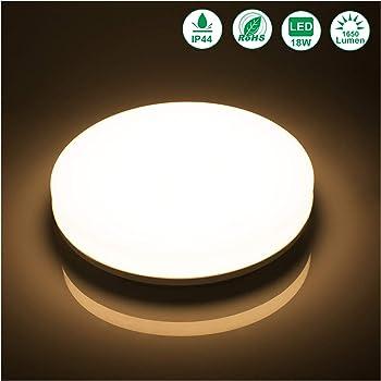 Ouesen Plafonnier LED 18W Moderne Lampe De Plafond Impermeable IP44 1650LM Blanc Chaud Pour Couloir Salon Cuisine Chambre A Coucher Salle Bains