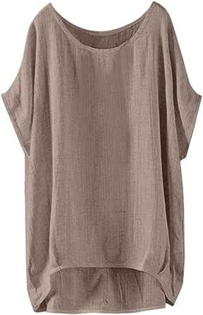 Darringls Magliette Manica Corta Donna Estive T-Shirt Elegante Camicia Vintage Tumblr Maglietta Ragazza 2019 Moda Camicia Lino e Cotone Casual Blusa V-Collo Tops Camicia