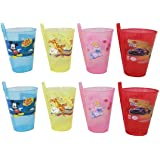 ARVANA return gifts for kids birthday party cartoon printed Plastic sipper glass with straw for girls/boys (pack of 8)- Multi