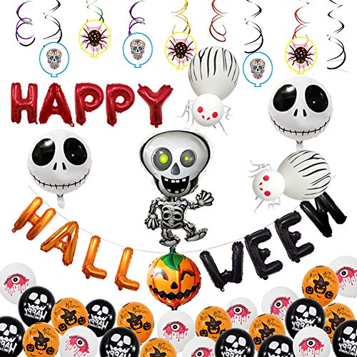 PowerBH Fun Halloween Aluminium Ballon Set Lustiger Kopf Skelett Kürbis Form Ballon Halloween Party Dekoration Party Ballon Dekoration