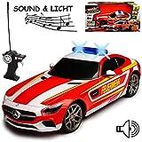 Maisto Mercedes-Benz AMG GT Feuerwehr mit Licht und Sound 40 MHz RC Funkauto - sofort startklar - 1/24 Modell Auto
