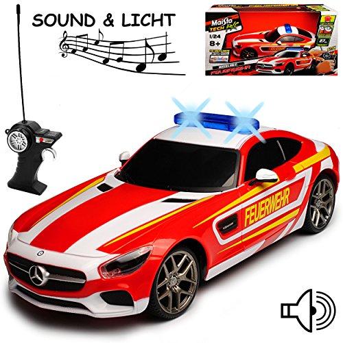 Maisto Mercedes-Benz AMG GT Feuerwehr mit Licht und Sound 40 MHz RC Funkauto - sofort startklar - 1/24 Modell Auto mit individiuellem Wunschkennzeichen