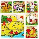 VWH Holz 9 Stück Würfel Puzzles Kinder bunt bemalten Blöcke - Waldtiere