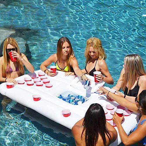 Pepional Beer Pong Luftmatratze für den Pool, Mit 28 Tassenlöchern Aus Hochdichtem PVC,Beer Pong Aufblasbar luftmatratze Wasser Spielzeug für Außen und Watplätze, Wie Schwimmbäder Strände Camping