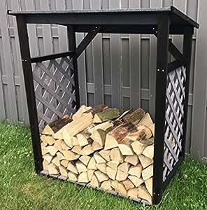 kaminholzregal 121x67x136 cm schwarz grau lasiert inkl wetterfestem dach brennholz lager. Black Bedroom Furniture Sets. Home Design Ideas