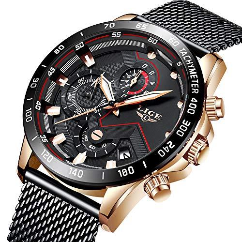 Uhren Herren Schwarz Edelstahl Mesh Band Chronograph Quarz Uhr Männer Datum Kalender Wasserdicht Multifunktions Armbanduhr (Moderne Uhr Und Kalender)