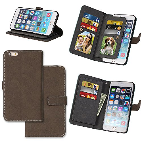 EKINHUI Case Cover Frosted Style Premium PU Leder Geldbörse Pouch Horizontal Flip Stand Folio Cover Case mit 9 Card Cash Slot & Magnetic Buckle für iPhone 6 Plus & 6s Plus ( Color : Black ) Brown
