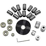 Decdeal Aibecy 3D Printer Parts Linear Motion Kit LM8UU 608ZZ 624ZZ Bearings Coupler Shaft 20 Teeth Pulley Wheels 2M GT2 Belt