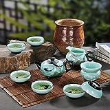 CUPWENH Céramique De Jingdezhen Thé Kung Fu Lei Yue Mun Celadon Peint Main Tasses À Thé Théière De Boîte-Cadeau,Services À Café Thé Service De Table Porcelaine