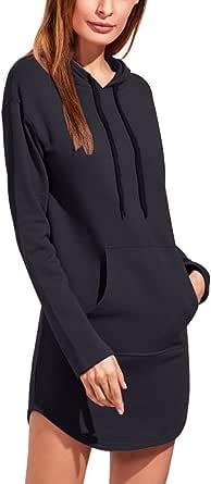 BIUBIU Damen Hoodie Kleid Langarm Pullover Kleid Kapuzenkleid Pulli Sweatshirtkleid Jumper