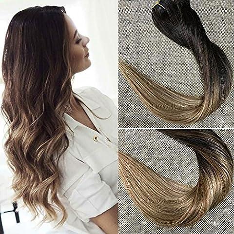 Full Shine 14 Zoll 10Pcs 100g/Set Clip in Extensions Für Komplette Brasilianischer Mensch Farbe # 1B Fading to # 6 und # 27 Honey Blonde Remy Full Head Clip in Erweiterungen