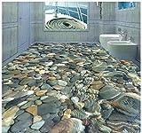Malilove 3D Fototapete Benutzerdefinierte Wandbild Pvc-Tapeten Klares Wasser Cobble Bodenfliese 3D Bad Malerei250X175Cm