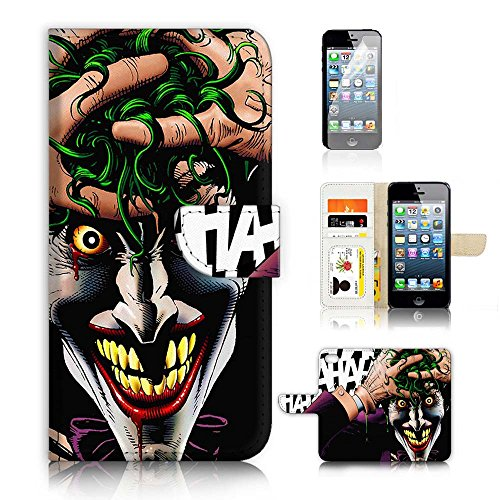 For-iPhone-5-5S-iPhone-SE-Flip-Wallet-Case-Cover-Screen-Protector-Bundle-A20366-Joker-Batman