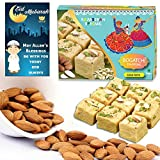 #6: BOGATCHI Eid Mubarak Gift Pack for friends, Premium Eid Special Gift, Sweets for Eid, Traditional Soan Papdi (250g)+ Roasted Almonds (100g) + FREE Eid Mubarak Greeting Card