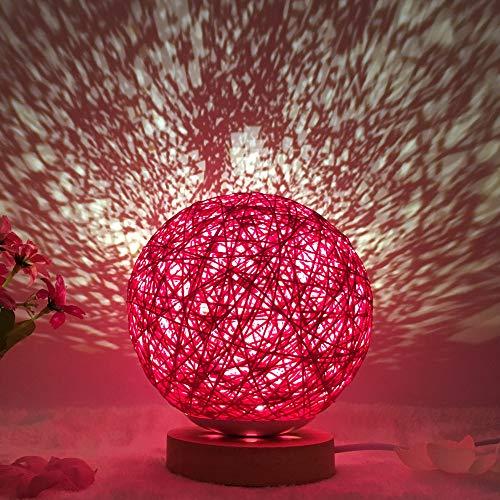 Veilleuse lampe de table balle de ficelle en rotin rotative 15CM- variateur USB rouge 3W rouge
