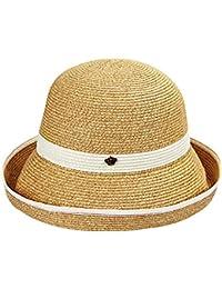 QZ HOME Sombrero De Paja Sombreros Sra. Verano Sombrero para El Sol Visor  Sombrero Grande Plegable Elegante Generoso Viaje… cd8b28406cd