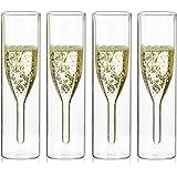 Sziqiqi Verres à Flûte à Champagne en Cristal à Double Paroi, Classics Tulip Goblet, Tasses en Verre Transparent, Verres Souf