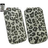 Emartbuy® Klassischer Serie Faux Suede Leopard Grau Tasche Hülle Schutzhülle Case Cover (Größe Xl) mit Ausziehhilfe geeignet für Samsung Galaxy S4 Mini I9190