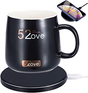 Smart Coffee Warmer and Wireless Charger with Ceramic Cup, Auto OnOff Gravity induction Mug Warmer for Office Desk Use, Candle Wax Cup Warmer Heating