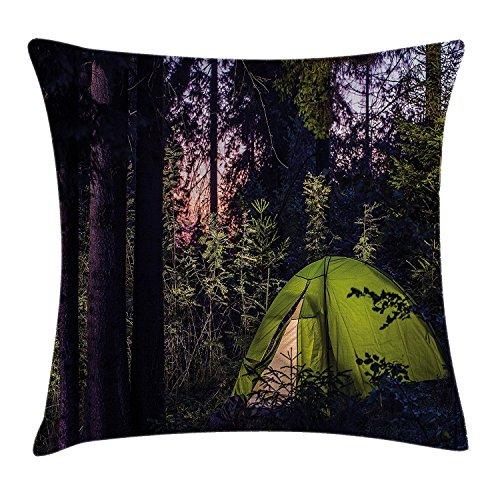 DCOCY Camper Überwurf Kissen Kissenbezug, Dunklen Wald im späten Abend mit Fichte Bäume und lila Sky Outdoor-Lifestyle-Bild, dekorative quadratisch Accent Kissen Fall, 45,7x 45,7cm, grün