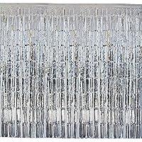 4 paquetes Cortina Fiesta Boda Navidad Cumpleaños Brillante Plata Metálico Flecos Tinsel Franja (2mx1m) Decoración Hogar Hotel