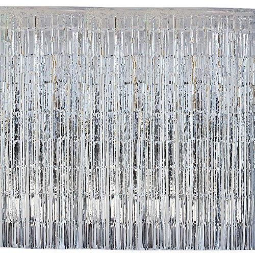 (2m*1m) 4pz tende a frange argento frangia decorative lamina metallica orpello porta finestra decorazione compleanno feste natale martimonio festa