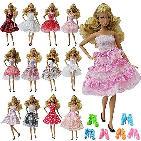 ZITA ELEMENT® Lot 10pcs = 5pcs Mini Robe Jupe Fête Soirée Robe et 5 Paires Caussures Pour Poupées Barbie Eté Vêtements Tenues Cadeau (Au Hasard)